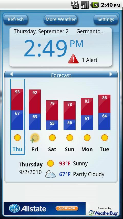 دانلود ویجت اب و هوا WeatherBug Time & Temp Widget برای اندروید